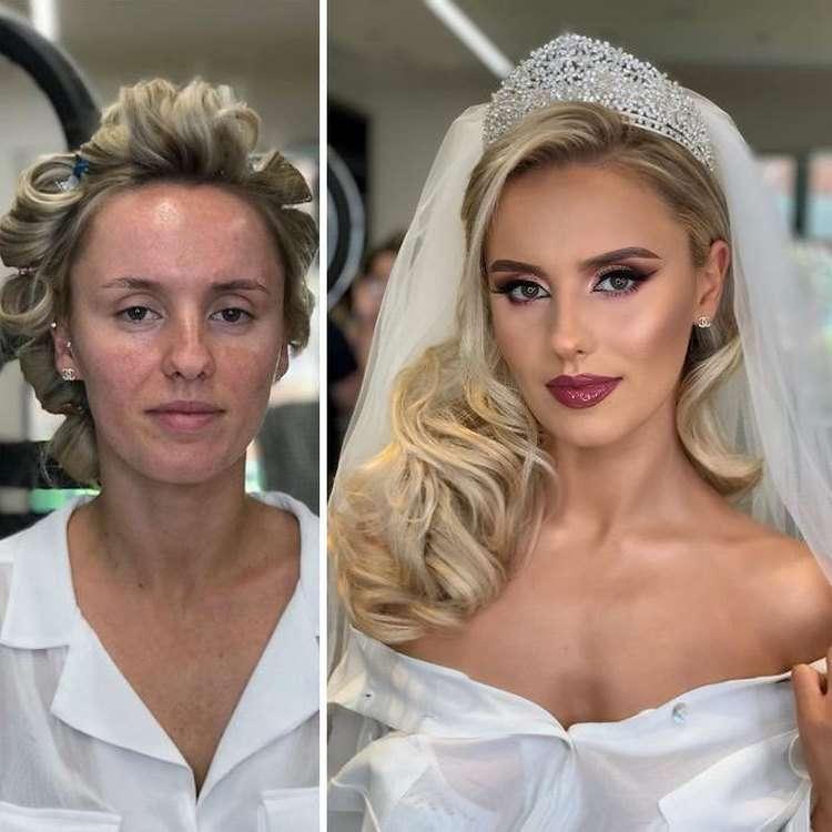 Впечатляющие фото невест до и после макияжа